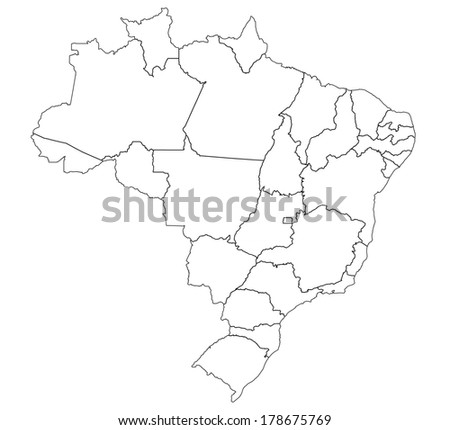 states and regions on administration map of brazil with flags - stock photo