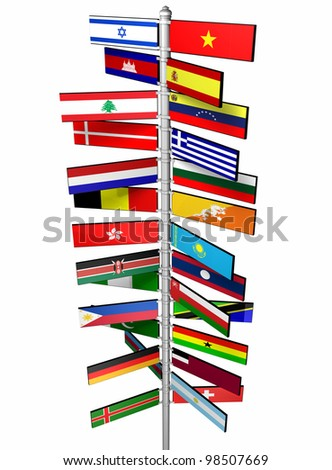 States of the World and Their Flags - stock photo
