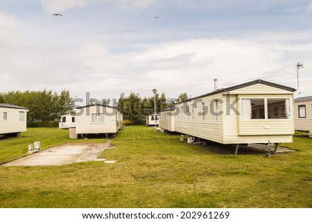Static caravan holiday homes at a U. K. holiday resort. - stock photo