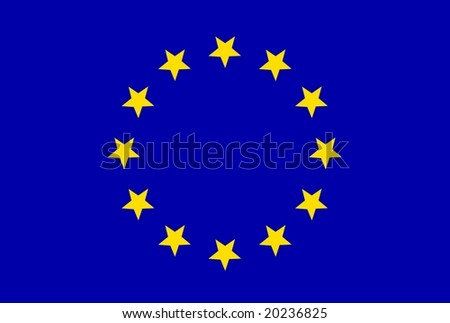 Static European flag isolated on white background - stock photo