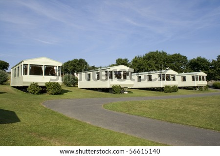 Static holiday caravans at a camping site - stock photo