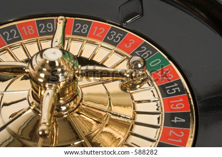 static roulette with ball on number zero (green) - stock photo
