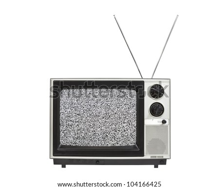 Static screen portable vintage television with antennas up.  Isolated on white. - stock photo