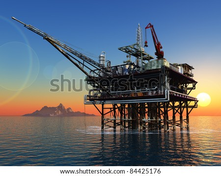 Station for oil in the sea.