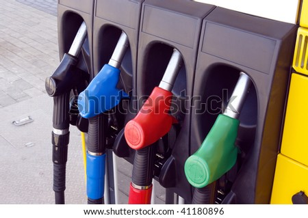 Station for refuelling motor transport. Only by the filled car it is possible to go in any direction - stock photo