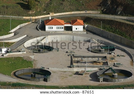 Station of residual water treatment - stock photo