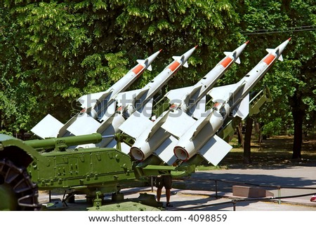 """Station of Russian anti-aircraft missiles of """"S"""" class in park. Shot in June, near Dnieper river (Dniepropetrovsk, Ukraine). - stock photo"""