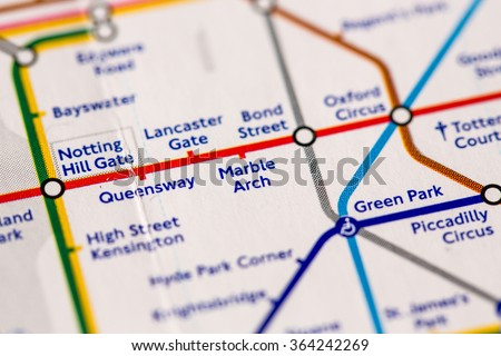 Station on a map of the Central metro line in London, UK. - stock photo