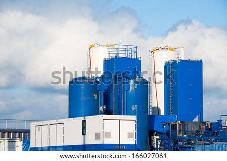 station on the production of natural gas by fracturing - stock photo
