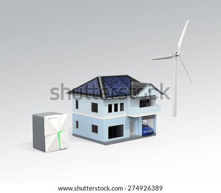 Stationary battery system and house. Concept for home energy storage solution. Clipping path available. - stock photo