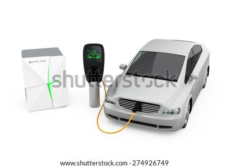 Stationary battery system supply power to EV - stock photo