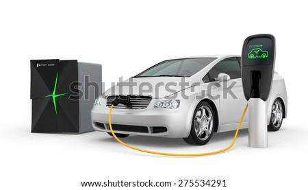 Stationary battery system supply power to EV - stock photo