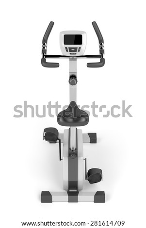 Stationary bicycle on white background, back view - stock photo