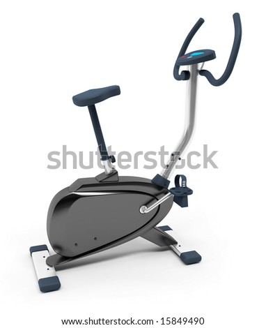 Stationary bicycle over white background. Isolated, high resolution 3D Render. - stock photo