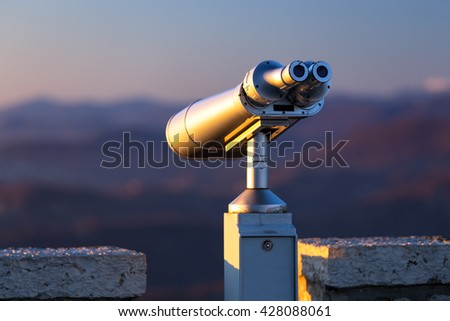 Stationary binoculars mounted on a mountain Akhun in Sochi. Russia - stock photo