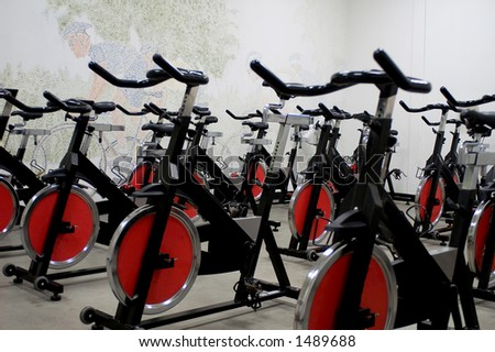 Stationary Spinning Bicycles - stock photo
