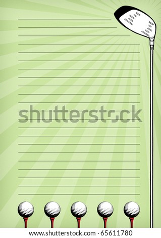 Stationary with golf balls and golf club design. - stock photo
