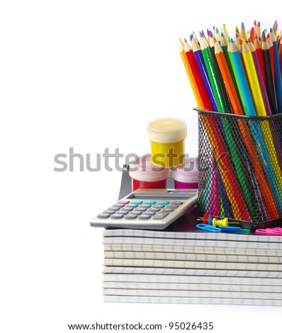 stationery and notebooks isolated on white - stock photo