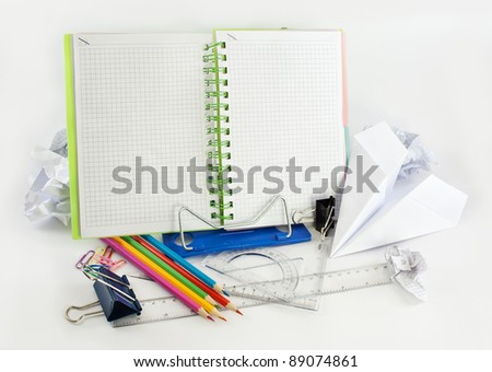 Stationery background with simple little tools. - stock photo