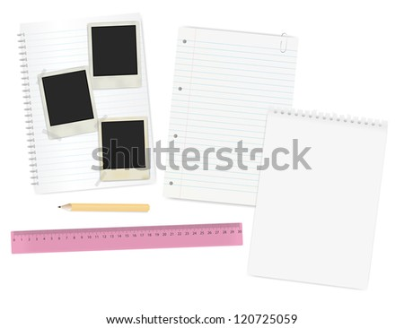 Stationery - Blank Paper Sheets, Vintage Photo Frames, Pencils and Ruler