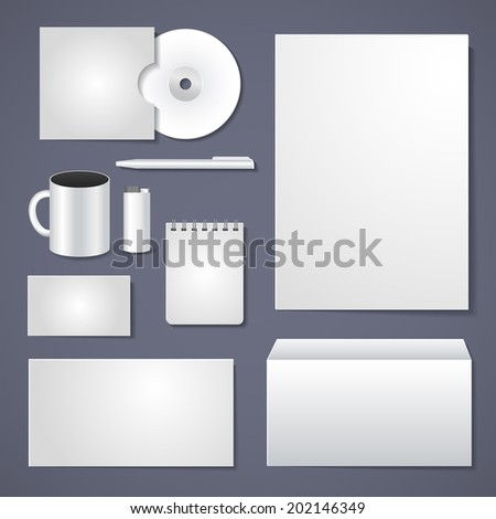 stationery design, empty corporate identity template for business design - stock photo