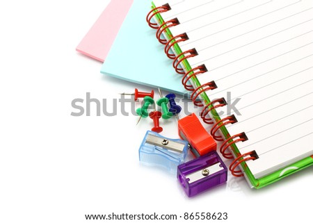Stationery items close-up on a white background - stock photo