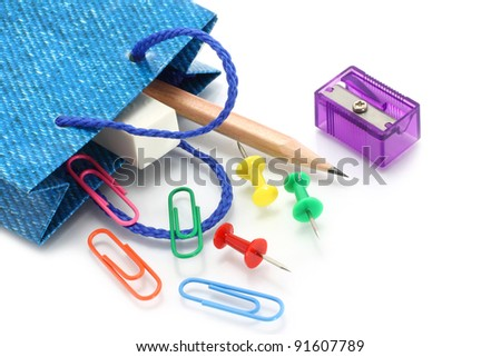 Stationery items poured out from shopping bag