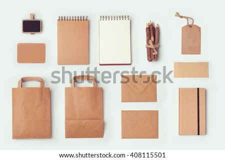 Stationery mock up template for branding identity design. View from above. Flat lay - stock photo