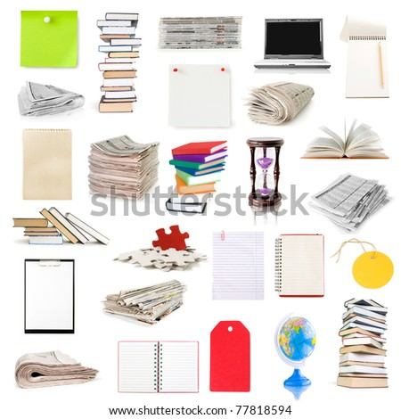 stationery object collection isolated on white - stock photo