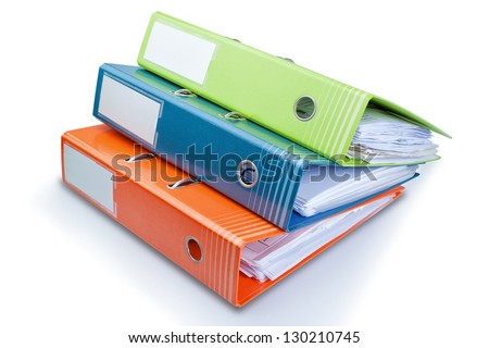 Stationery Office folder on the table with papers. On a white background. - stock photo