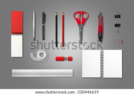 Stationery, office supplies mockup template, isolated on anthracite background - stock photo