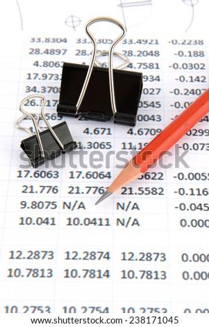 stationery on sheet number - stock photo