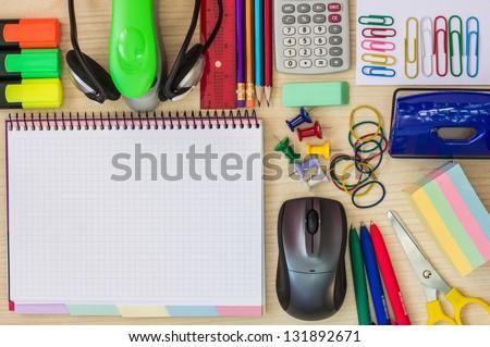 Stationery on the office desk - stock photo