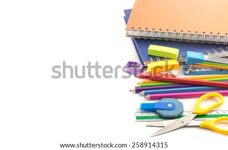 Stationery supplies - notebook,pencils,ruler, eraser and other  on white background