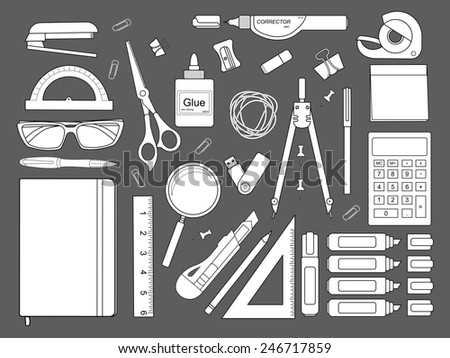 Stationery tools: marker, paper clip, pen, binder, clip, ruler, glue, zoom, scissors, scotch tape, stapler, corrector, glasses, pencil, calculator, eraser, knife, compasses, protractor, sticky notes. - stock photo