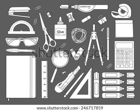 Stationery tools: marker, paper clip, pen, binder, clip, ruler, glue, zoom, scissors, scotch tape, stapler, corrector, glasses, pencil, calculator, eraser, knife, compasses, protractor, sticky notes. - stock photo