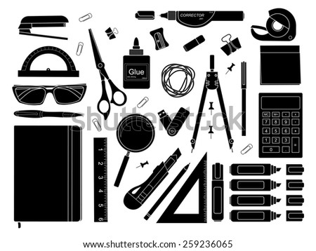 Stationery tools: marker, paper clip, pen, binder, clip, ruler, glue, zoom, scissors, stapler, corrector, glasses, pencil, calculator, eraser, knife, compasses, protractor, black and white colors - stock photo