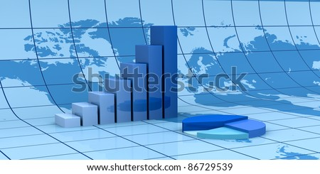 statistic bar and pie charts with the world map on background (3d render) - stock photo