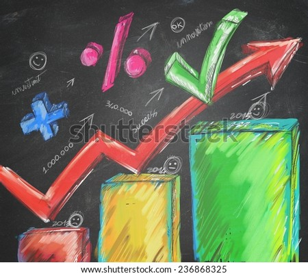 Statistical work with arrow numbers and percentages - stock photo