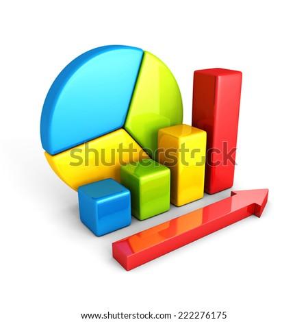statistics analysis business colorful shiny bar graph. 3d render illustration - stock photo
