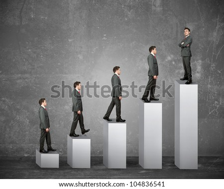 Statistics and business success of a businessman - stock photo