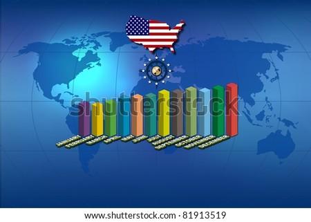 Statistics and USA flag - stock photo