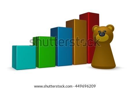 statistics bars and bear tokken - 3d rendering - stock photo