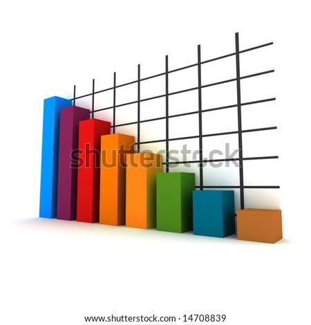 statistics - 3d isolated multicolor diagram - stock photo