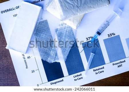 Statistics diseases, first aid on the table, a syringe and bandages. In blue tone - stock photo