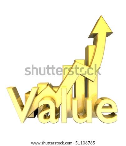 Statistics graphic in gold - stock photo