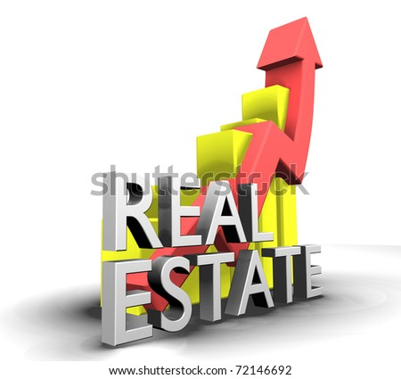Statistics graphic with real estate word - 3d made - stock photo