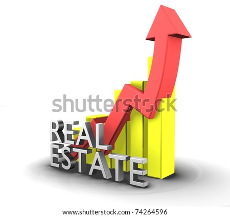 Statistics graphic with real estate word - 3d made