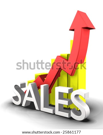 Statistics graphic with sales word - stock photo
