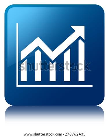 Statistics icon blue square button - stock photo